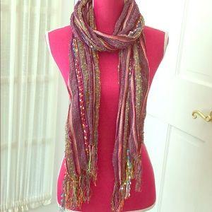 Colorful boho summer scarf